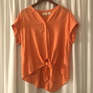 Chico's salmon short sleeve tie up top Size 1